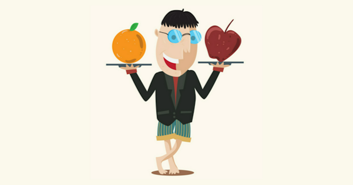 Person holding a plate with an apple and a plate with an orange