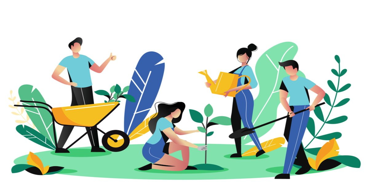 team of employees planting trees for a greener future