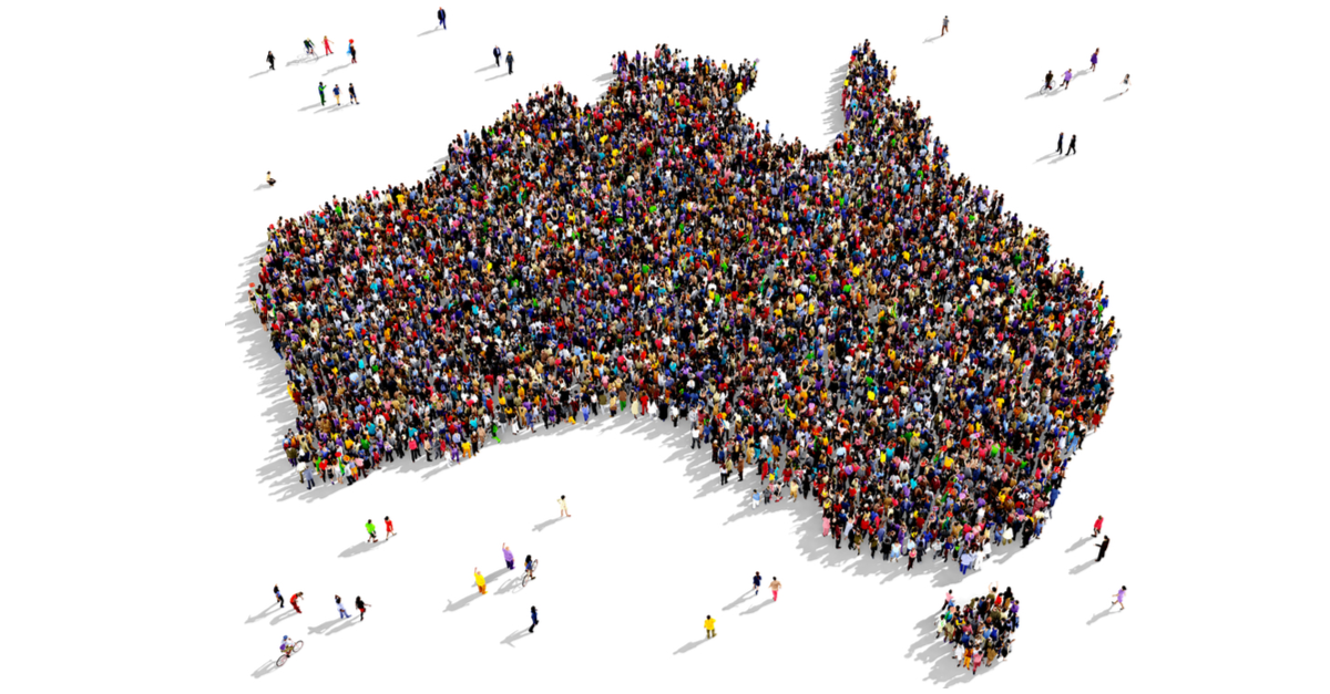 crowd of people in the shape of Australia