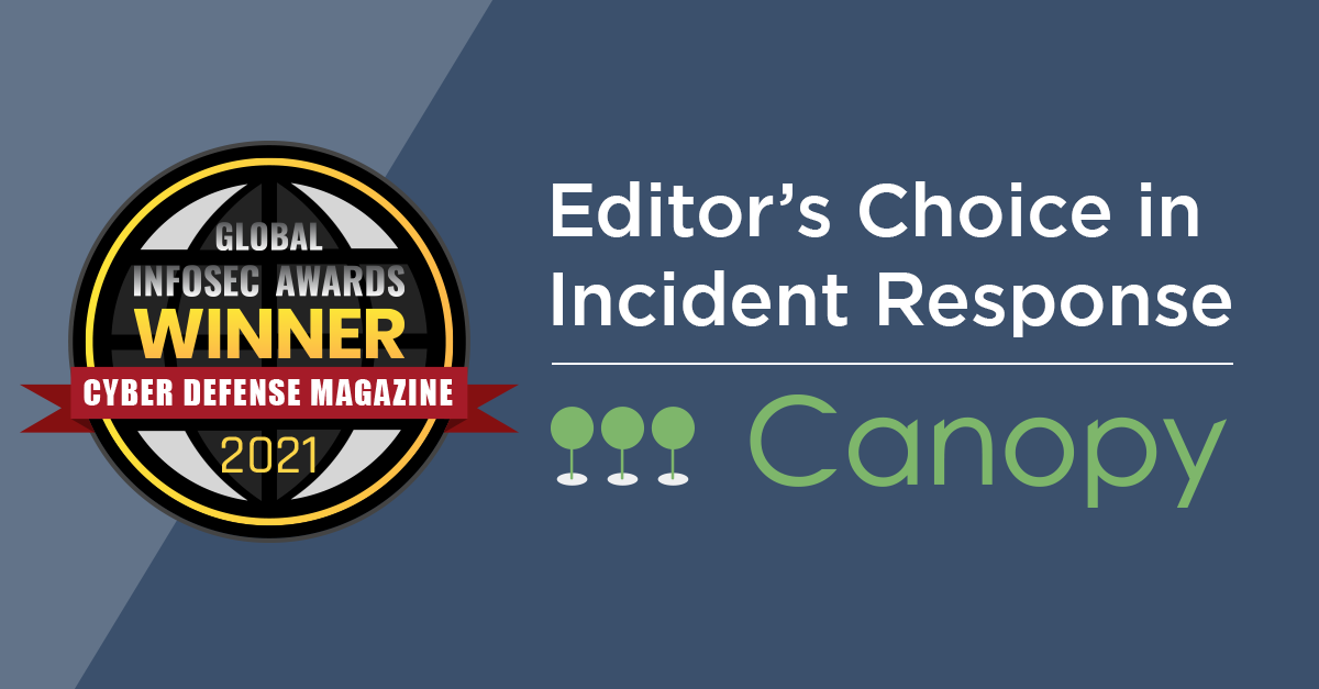 Canopy Software, Inc. has won Global InfoSec Awards 2021 Editor's Choice in Incident Response