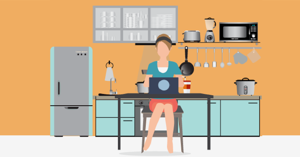 remote employee working at home on computer