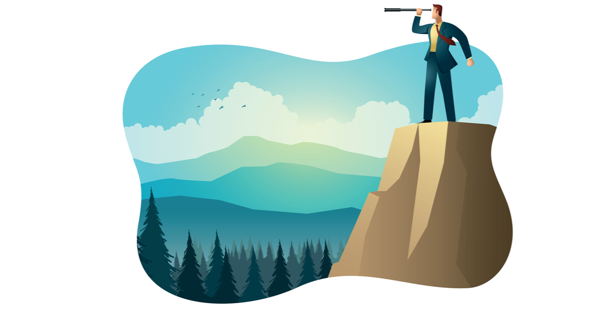 person with a telescope on a cliff overlooking the data privacy tech landscape