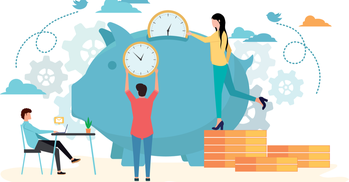 people saving time in piggy bank