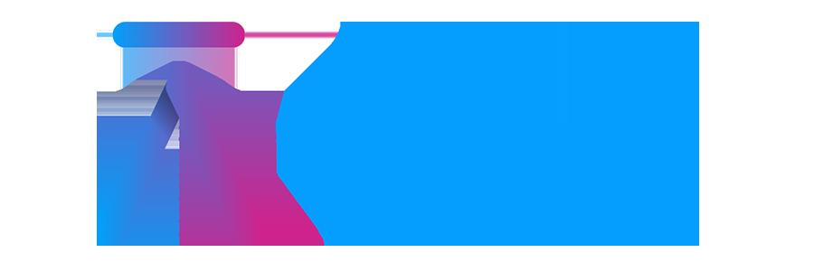 Asceris logo with blue purple pink gradient
