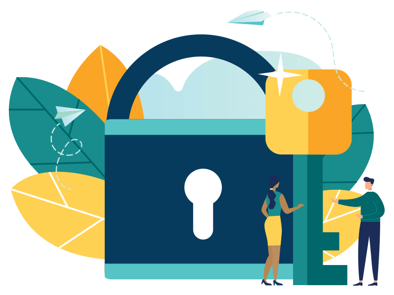 illustration of chief information/privacy officer with lock and key