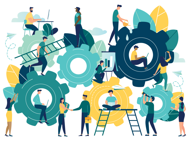 illustration of employees contributing to one common goal