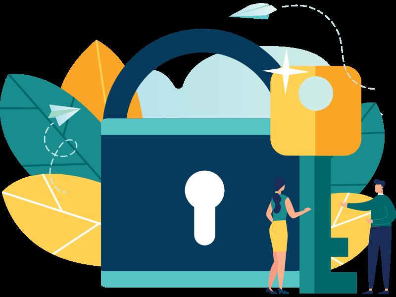 lock and key representing data security
